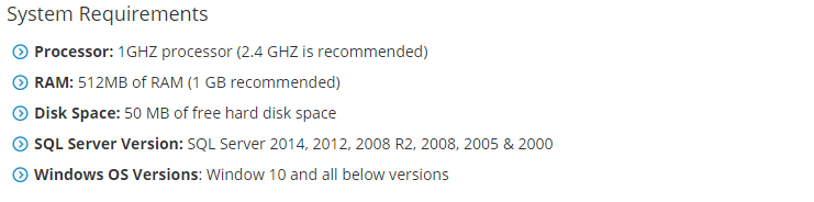 System Requirements for BAK Recovery
